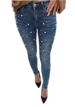 962995bfacc03 Tengfu Women's Classic High Waist Slimming Fit Stretch Pearl Jeggings Skinny  Jeans Blue