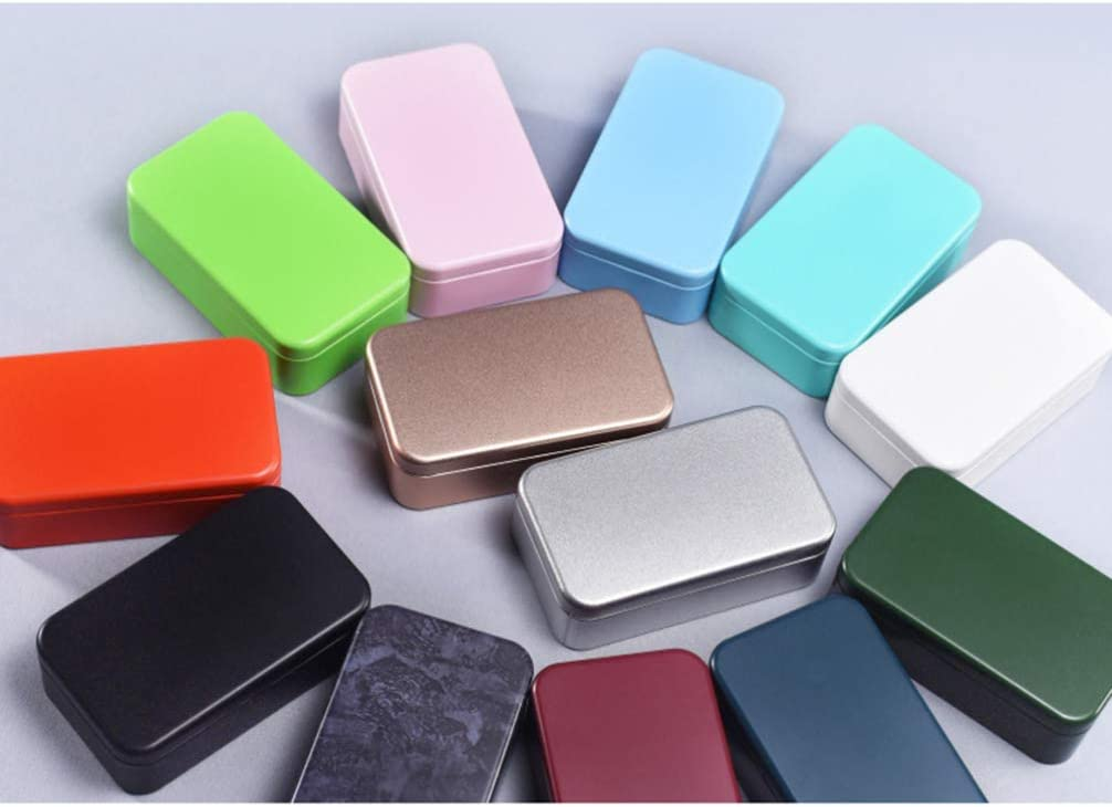 HEALLILY 4pcs Rectangular Metal Tins with lids Decorative Candle Tins Empty Tin Box Containers Gift Candy Loose Tea Storage Organizer Wedding Favor Boxes Black White