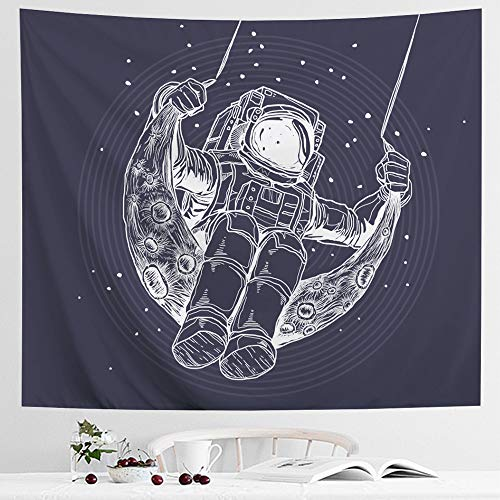 IcosaMro Astronaut Men Tapestry Wall Hanging, Cool Man in Outer Space Galaxy Wall Decor, [Hemmed Edges& Hooks] Hippie Man Wall Art for Bedroom Living Room College Dorm (Blue Sketch, 51x60)