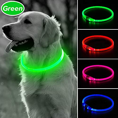 BSEEN LED Dog Collar, USB Rechargeable Glowing Pet Collar, TPU Cuttable Dog Safety Lights for Small Medium Large Dogs (Green) -