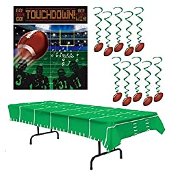 Football Party Supplies - Football Party Decorations: Large Scene Setter, Hanging Swirls & Table Cover