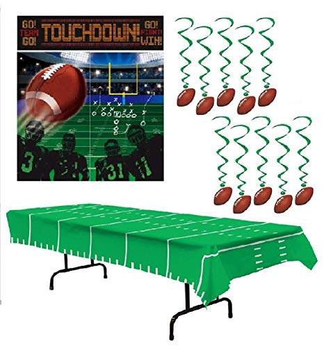 Football Party Supplies - Football Party Decorations: Large Scene Setter, Hanging Swirls & Table Cover ()