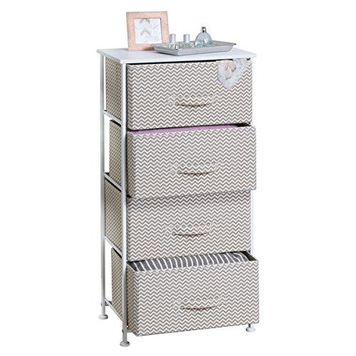 mDesign Chevron Fabric 4-Drawer Storage Organizer Unit for Bedroom, Nursery, Office - (4 Drawer Garage Storage)