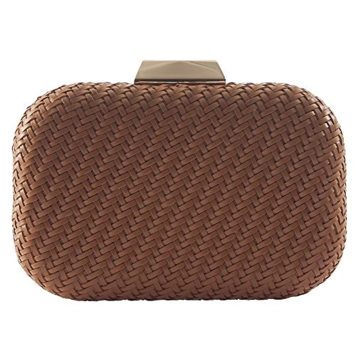 Borsa clutch, Teodora marrone, in pelle