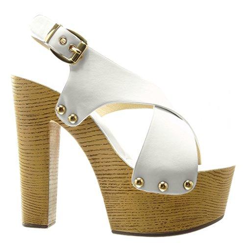 Angkorly - Scarpe da Moda zoccoli sandali zeppe donna borchiati metallico legno Tacco zeppa piattaforma 14 CM - Bianco