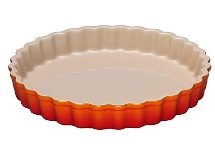 LE CREUSET - Molde Redondo de gres, para Tarta, 24 cm, Color volcánico