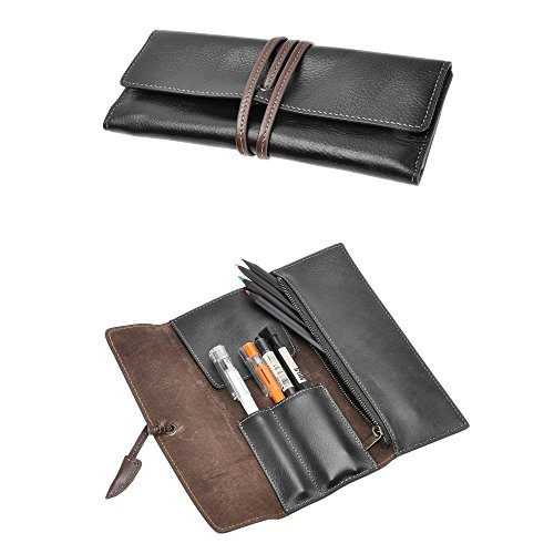 ZLYC Handmade Leather Pen Case Pencil Holder Soft Roll Wrap Bag Pouch Stationery Gift - Case Carrying Soft Leather Black