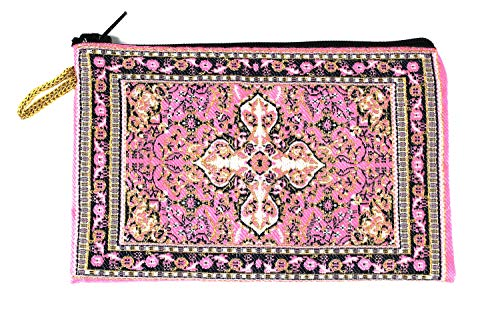 Intercession Hand-Woven Rosary Pouch, Made in Turkey with Premium Metallic Thread (Pink)