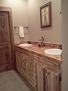 rustic 60 inch white cedar bathroom vanity