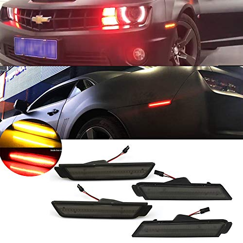 KEENICI Smoked Lens Front Rear Side Marker Lights For Chevy Camaro 2010 2011 2012 2013 2014 2015 Chevy Camaro (front-Amber LED, rear-Red LED) (Smoked Lens)