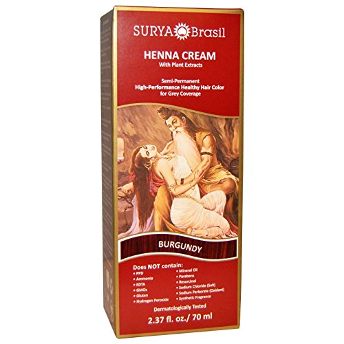 Surya Brasil Henna Hair Cream - Burgundy 70ml (Pack of 4) by Surya Brasil