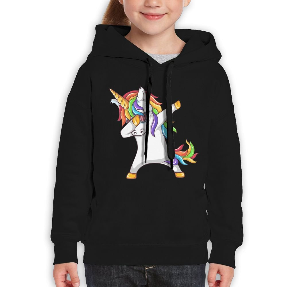 Katie P. Hunt Dabbing-Unicorn Boys Fashion Hoodies Black
