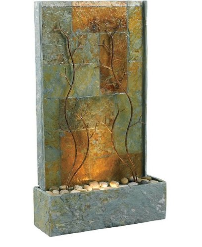 Slate Brown and Green Tile Floor Indoor Water Wall Fountain with Metal Vine Scuplture and Rocks