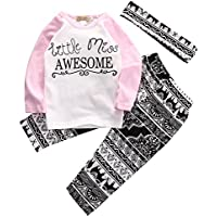 Baby Girl 3pcs Outfit Set Carta Impresión Manga Larga parte superior + Pantalones Largos Retro + Headband