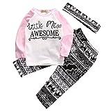Baby Girl 3pcs Outfit Set Letter Print Long Sleeve Top+Retro Long Pants+Headband (3-4T, White)