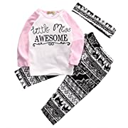 Baby Girl 3pcs Outfit Set Letter Print Long Sleeve Top+Retro Long Pants+Headband (6-12Months, White)