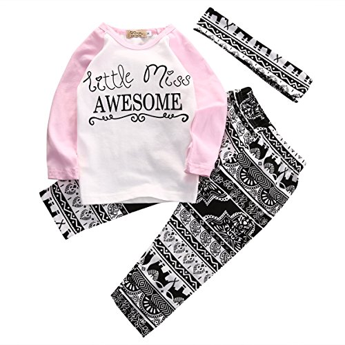 Baby Girl 3pcs Outfit Set Letter Print Long Sleeve Top+Retro Long Pants+Headband (2-3T, White)