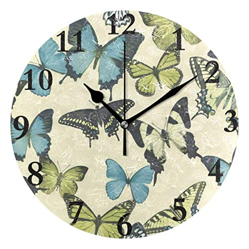 NMCEO Wall Clock Botanical Butterfly Round Hanging Clock Acrylic Battery Operated Wall Clocks for Home Decor Creative