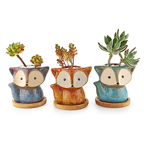 T4U Ceramic Succulent Planter Pot, Fox Shaped Cute Cactus Plant Pot with Bamboo Tray for Home Office Desk Decoration Birthday Wedding Christmas Gift with Transmutation Glaze, Set of 3(Full Set)