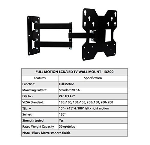 Ideal Full Motion Tv Wall Mount Stand - 24'' To 42'' Inch Led/Lcd/Oled Tv - Black (Can Hold Upto 30 Kg Weight) by Ideal (Image #4)