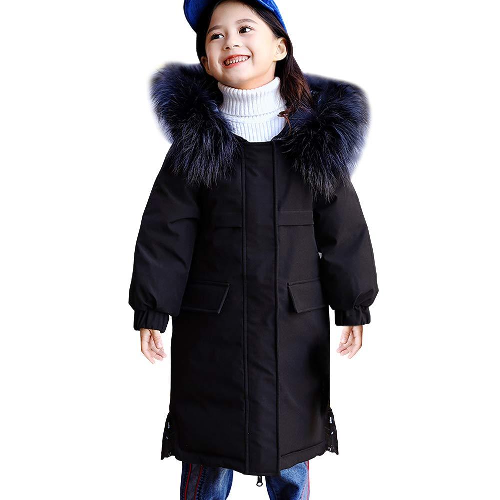 Noir 7-8 ans SXSHUN Manteau Fille Enfant Trench-Coat Hiver Doudoune Parka épaissie Chaud VêteHommest de Neige Ski Garçon Blouson à Capuche Fourrure Faux Porté Deux Côtés