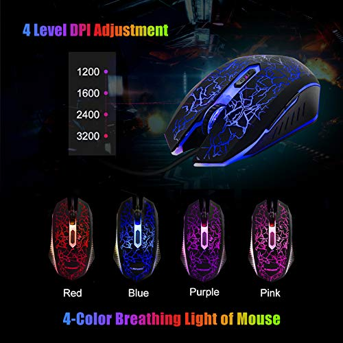 FLAGPOWER Gaming Keyboard and Mouse Combo, Rainbow Backlit Mechanical Feeling Keyboard with 4 Colors Breathing LED Backlight Mouse for PC, Laptop, Computer