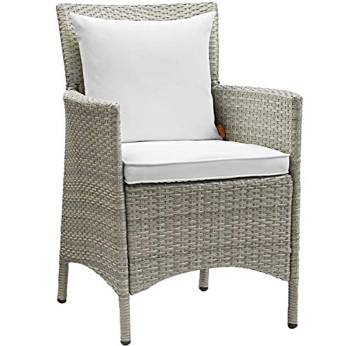 Modway EEI-2802-LGR-WHI Conduit Outdoor Patio Wicker Rattan Dining Armchair, Light Gray, White (Wicker White Armchairs)