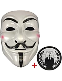 Anonymous Mask Plus Sticker, Guy Fawkes V for Vendetta, White Hacker Mask Bundled With Sticker.