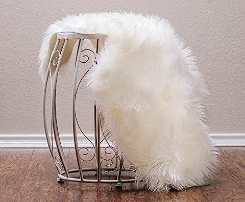 Chanasya Super Soft Faux Fur Fake Sheepskin White Sofa Couch Stool Casper Vanity Chair Cover Rug / Solid Shaggy Area Rugs For Living Room Floor Throw Blanket - Off White (Fox Fur Rug)