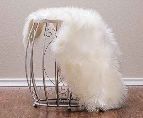 Chanasya Super Soft Faux Fur Fake Sheepskin White Sofa Couch Stool Casper Vanity Chair Cover Rug/Solid Shaggy Area Rugs for Living Bedroom Floor - Off White 2ftx3ft