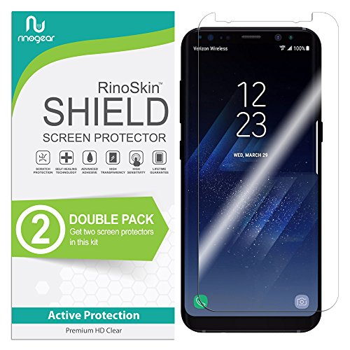 [2-PACK] RinoGear for Galaxy S8+ Plus Screen Protector [Active Protection] (Edge-to-Edge) Flexible HD Invisible Clear Shield Anti-Bubble