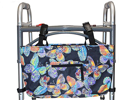 RMS Walker Bag with Soft Cooler - Water Resistant Tote with Temperature Controlled Thermal Compartment, Universal Fit for Walkers, Scooters or Rollator Walkers (Vivid Butterfly)