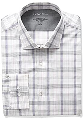 Calvin Klein Men's Stretch Xtreme Slim Fit Plaid Spread Collar Dress Shirt