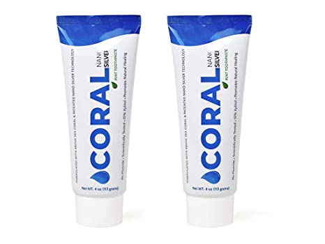 Coral White Nano Silver Mint Toothpaste, Natural Fluoride Free Teeth Whitening Toothpaste, Coral Calcium Nano Silver Infused Sls Free (2 Pack) by Coral White
