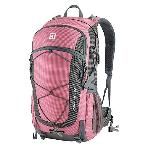 Duhud 40L Internal Frame Hiking Backpack Lightweight Backpacking Packs Camping Daypack for Outdoor Sports Travel Climbing Trekking Mountaineering with Rain Cover D010832(Pink)