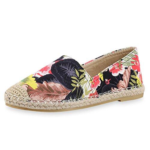 napoli-fashion Damen Espadrilles Bast Glitzer Slippers Blumen Prints Flats  Strass Metallic Schuhe Stoffschuhe Nieten 3095055757