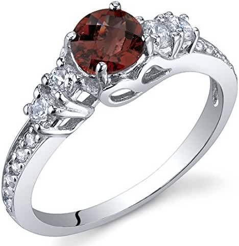 Enchanting 0.50 Carats Garnet Ring in Sterling Silver Rhodium Nickel Finish Sizes 5 to 9