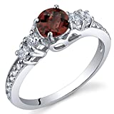 Enchanting 0.50 Carats Garnet Ring in Sterling Silver Rhodium Nickel Finish Size 7