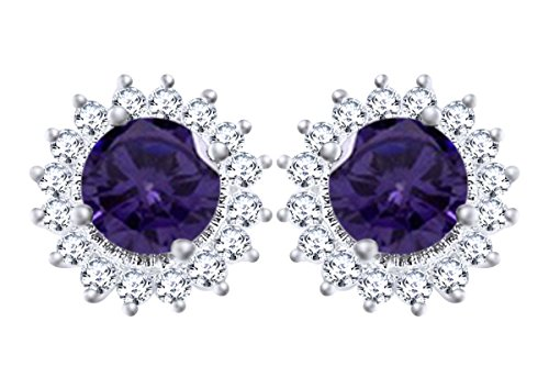Gold Over Sterling Violet - 14k White Gold Over Sterling Silver Simulated Violet Alexandrite & White CZ Sunflower Womens Stud Earrings