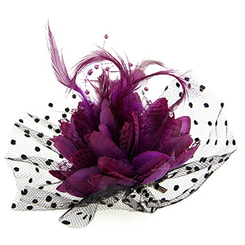 Skyus® Purple Organza Feather Corsage Hair Clip Brooch Pin Fascinator Burlesque
