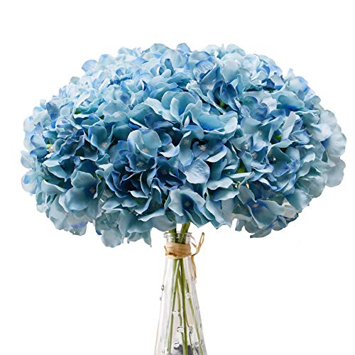 Aviviho Hydrangea Silk Flowers Teal Heads Pack of 10 Full Hydrangea Flowers Artificial with Stems for Wedding Home Party Shop Baby Shower Decoration