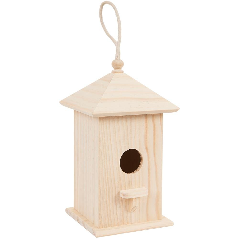 Wood Birdhouse W/Perch-9.5X5.3X5 Darice 30024510