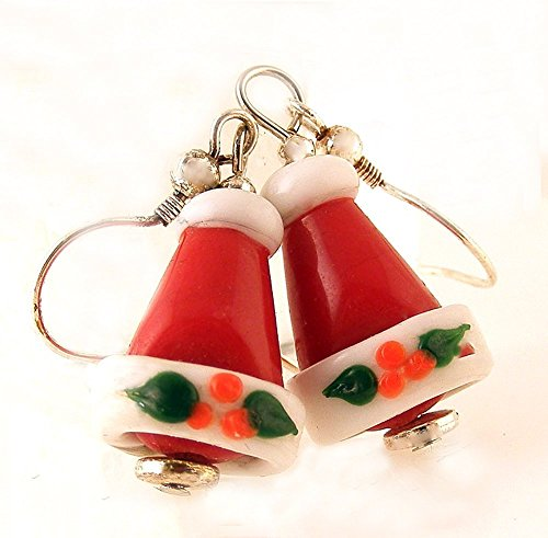 Santa Hat Stocking Cap Earrings Red Glass Silvertoned Ear Wires (Santa Hat Thematic)