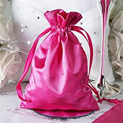 BalsaCircle 60 pcs 5x7-Inch Fuchsia Satin Drawstring Bags - Wedding Party Favors Jewelry Pouch Candy Gift Bags