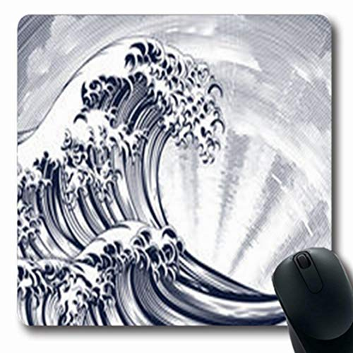 ArtsDecor Mousepads Line Vintage Woodcut Engraved Etching Style Oriental Etched Wave Blue Ocean Japanese Japan Water Oblong Shape 7.9 x 9.5 Inches Oblong Gaming Mouse Pad Non-Slip Mouse - Chinese Woodcut