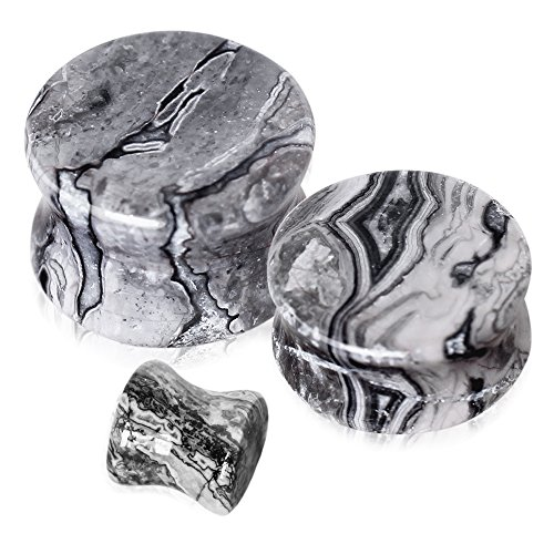 Grey Wave Jasper Natural Stone Saddle Plugs - Sold as a Pair - Multiple Sizes Available (10mm (00GA))
