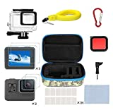 Kitspeed Accessories Kit for GoPro Hero (2018)/6/5, Including Waterproof case,Red Filter,Tempered Glass Film,Waterproof Camera Float,Anti-Fog Inserts, Shockproof Storage Bag