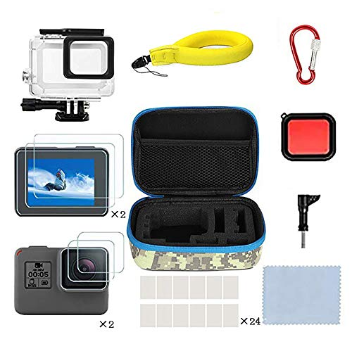 Kitspeed Accessories Kit for GoPro Hero (2018)/6/5, Including Waterproof case,Red Filter,Tempered Glass Film,Waterproof Camera Float,Anti-Fog Inserts, Shockproof Storage Bag by Kitspeed