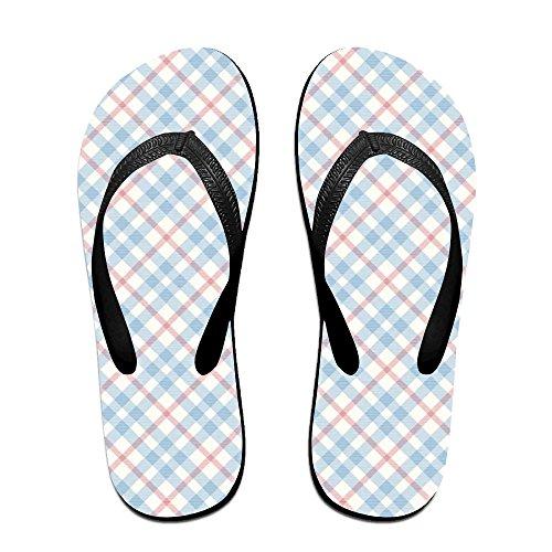 5ba2c31b619f 60%OFF Blue Red Plaid Funny Unisex Flip Flops Sandal Summer Beach Slippers  For Women