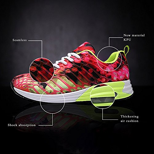 Wonvatu Women Men Breathable Fashion Running Sneakers Comfortable Lightweight Walking Athletic Shoes Rose Red qoZTOqzb3